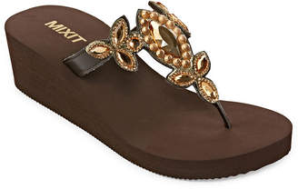 MIXIT Mixit Womens Estate Chunky Wedge Flip-Flops