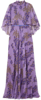 Giambattista Valli Ruffled Floral-print Silk-georgette Gown - Purple