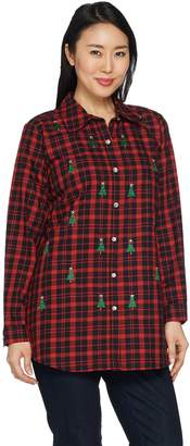 Factory Quacker Button Front Plaid Tunic with Embellishment