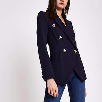 River Island Navy double breasted tux jacket