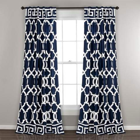 Maze Border Room Darkening Window Curtain Panels Navy 52