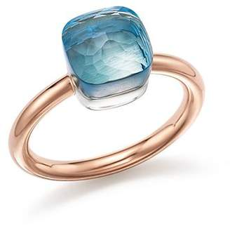 Pomellato Nudo Mini Ring with Faceted Blue Topaz in 18K Rose and White Gold