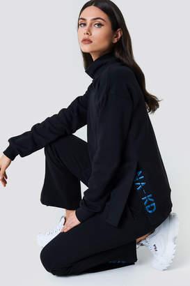 NA-KD Na Kd Slit Embroidery Sweatshirt Black