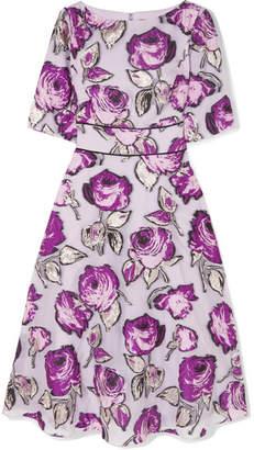 Lela Rose Fil Coupé Organza Midi Dress - Purple