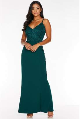 Quiz Petite Bottle Green Sequin Lace Strappy Maxi Dress