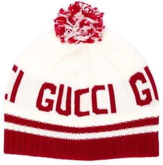 Gucci Kids logo knit pom pom hat