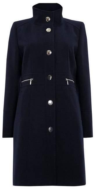 Navy Faux Wool Zip Pocket Coat