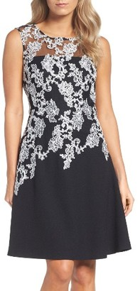 Women's Ellen Tracy Embroidered Crepe Fit & Flare Dress $178 thestylecure.com