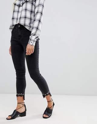 Glamorous crochet hem skinny jeans