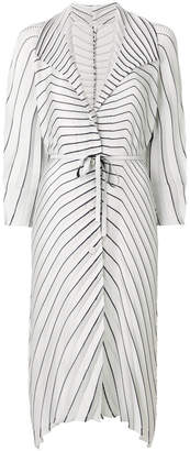 Issey Miyake striped pleated cardi-coat