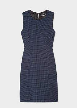 Women's Navy And Black Gingham Sleeveless Shift Dress