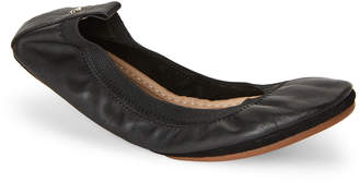Yosi Samra Black Samara Foldable Leather Ballet Flats