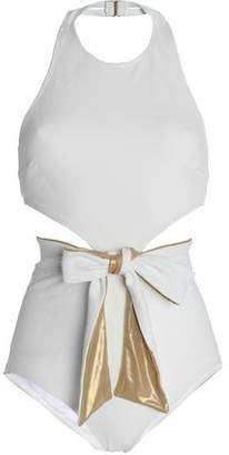 Oscar de la Renta Flagpole X Tie-Front Metallic Halterneck Swimsuit