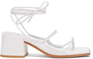 Marques Almeida Marques'almeida - Wraparound Ankle Strap Block Heel Leather Sandals - Womens - White