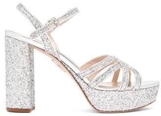 Miu Miu Glittered Leather Platform Sandals - Womens - Silver