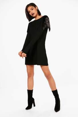 boohoo Paige Tassel Trim T-Shirt Dress