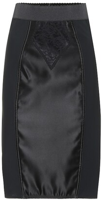 Dolce & Gabbana Satin and lace pencil skirt
