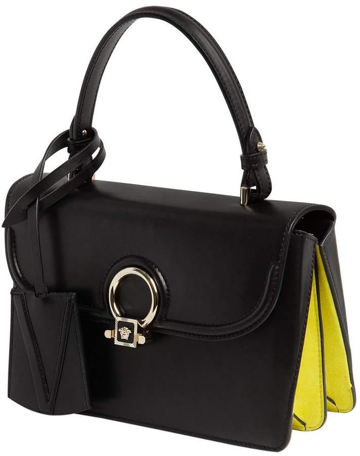 Small Donatella Leather Top Handle Bag