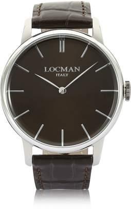 Locman 1960 Stainless Steel Men's Watch W/ Dark Brown Croco Embossed Leather Strap