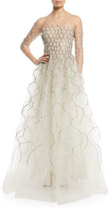 Oscar de la Renta 3/4-Sleeve Lamé; Embroidered Tulle Evening Gown