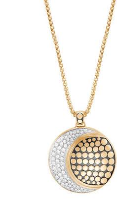 """John Hardy Dot Moon Phase 18K Gold Diamond Pave Pendant Necklace, 36"""""""