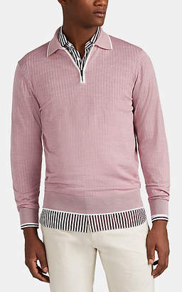 Luciano Barbera Men's Zip-Front Wool Long-Sleeve Polo Shirt - Light, Pastel pink
