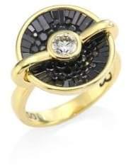 Black Diamond Pleve Opus Black Diamond& 18K Yellow Gold Round Ring