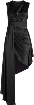 Off-White Draped Satin Dress