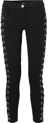 Lace-up Mid-rise Skinny Jeans - Black