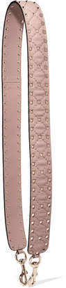 Valentino Garavani The Rockstud Spike Matelassé Embellished Quilted Leather Bag Strap - Neutral