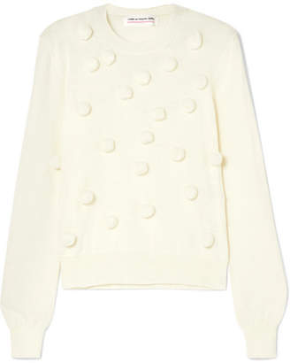 Comme des Garcons Pompom-embellished Knitted Sweater - Off-white