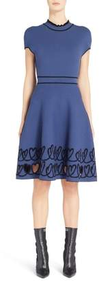 Fendi Cutout Heart Reversible Fit & Flare Dress