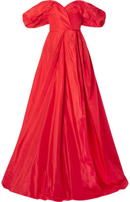 Carolina Herrera Off-the-shoulder Silk-taffeta Gown - Red