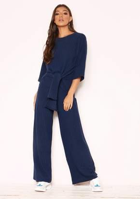 6ed66bb08cda7 Missy Empire Missyempire Lisa Navy Knit Ribbed Tie Co-ord Set