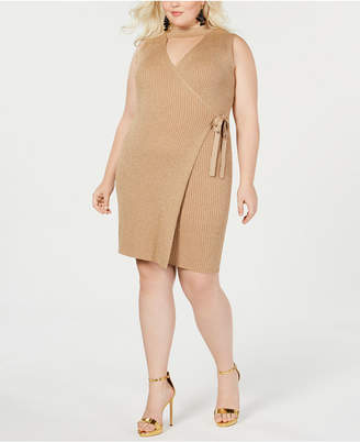 Say What Trendy Plus Size Cutout Wrap Dress