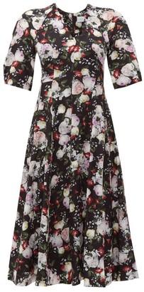 Erdem Cressida Clarence Print Silk Dress - Womens - Black Print
