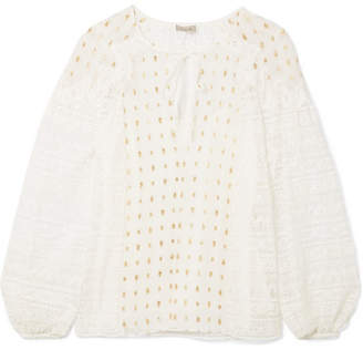 Temperley London Wondering Lace-paneled Fil Coupé Georgette Blouse - White