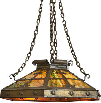 Rejuvenation Arts & Crafts Brass Dome Chandelier w/ Art Glass
