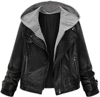 Zilcremo Women Casual PU Leather Biking Hooded Blazer Jacket Outcoat Plus Size 3XL