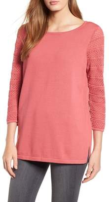 Chaus Pointelle Sleeve Sweater