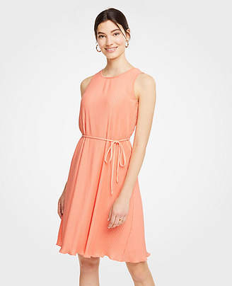 Ann Taylor Micro Pleat Belted Dress