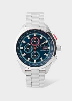 Paul Smith Men's Petrol, Blue And Stainless Steel 'Chrono' Chronograph Watch