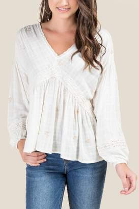 francesca's Bethany Embroidered Peasant Blouse - Ivory