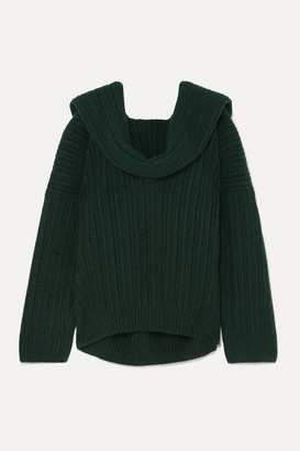 Jacquemus Ahwa Draped Ribbed Wool-blend Sweater - Forest green