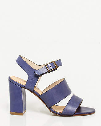 Le Château Italian Made Leather Block Heel Sandal