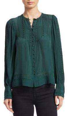 Sea Azzedine Long-Sleeve Button-Down Embroidered Blouse