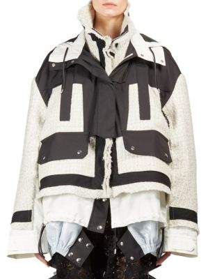 Sacai Colorblock Tweed Puffer Coat