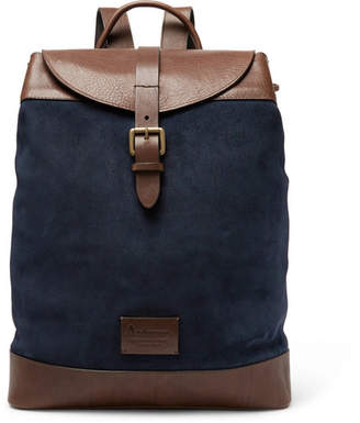 Andersons Anderson's - Suede and Leather Backpack - Men - Navy