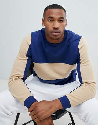 Asos DESIGN sweatshirt with side stripe and color blocking