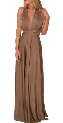 Sexyshine Women's Infinity Backless Gown Dress Multi-Way Wrap Halter Cocktail Dress Bandage Bridesmaid Long Dress (BR,L)